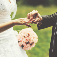 Wedding picture. Bride and groom holding hands.