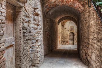 narrow alley in Todi, Umbria , Italy