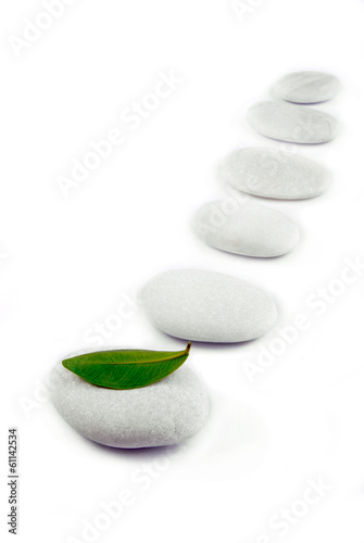 white stone pebble zen path isolated on white