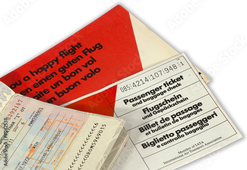 Airline ticket and open passport