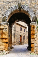 Ancient gate in Volterra, Tuscany, Italy