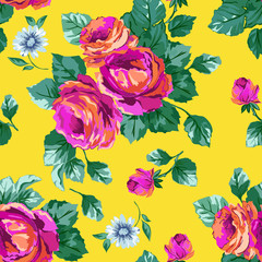 Bright Pink Roses seamless background