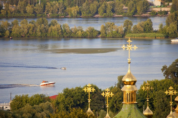 Landscape of the Dnieper River in Kiev.