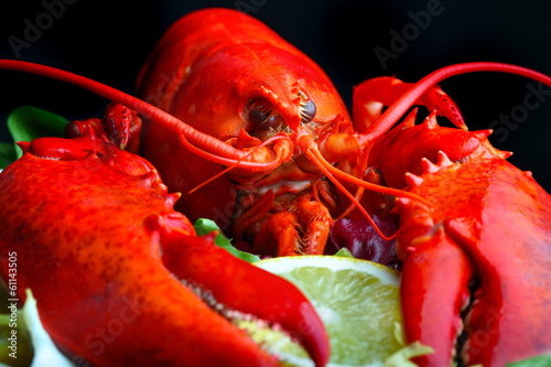 .Boiled lobster and lemon
