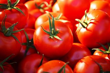 Fresh organic tomatoes on the street stall