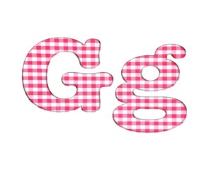Abc fabric gingham, letter G.