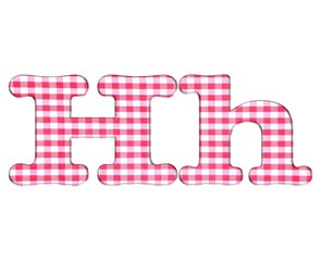 Abc fabric gingham, letter H.