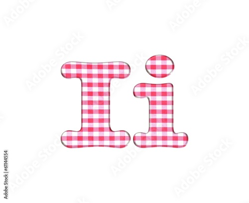 Abc fabric gingham, letter I.