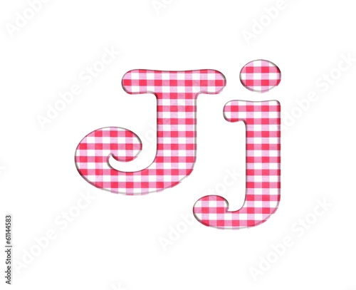 Abc fabric gingham, letter J.