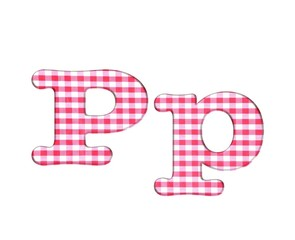 Abc fabric gingham, letter P.