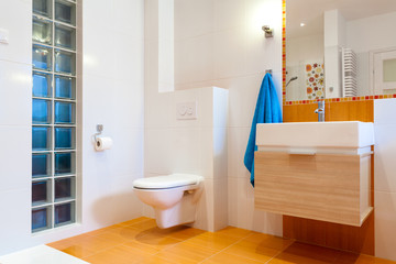 New practical bathroom in modern house