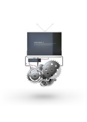 Vector illustration of complex gear machine with tv screen