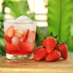 Strawberry soda juice