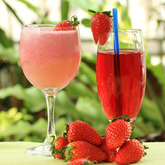 Strawberry juice and smoothie