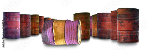 Large group of old rusty oil barrels