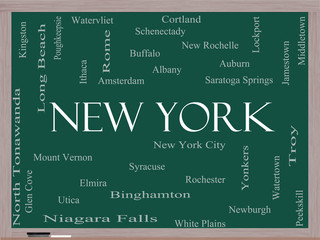 New York State Word Cloud Concept on a Blackboard