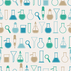 Seamless pattern with laboratory equipment