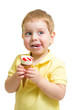 Boy eating ice cream or icecream isolated on white