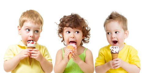 funny kids boys and girl eating ice cream cone isolated on white