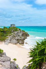 Mayan temple on the beautiful empty Caribbean beach in Tulum
