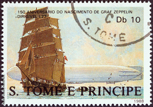 Ferdinand von Zeppelin sailing ship (Sao Tome and Principe 1988)