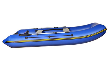 Side view of blue inflatable rubber boat, isolated on white.