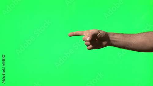 Male hand gestures on green screen