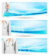 Medical banners with a doctor's lab white coat and stethoscope.