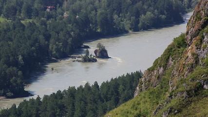 Katun River from Mount Bloody Finger in Altai Krai.