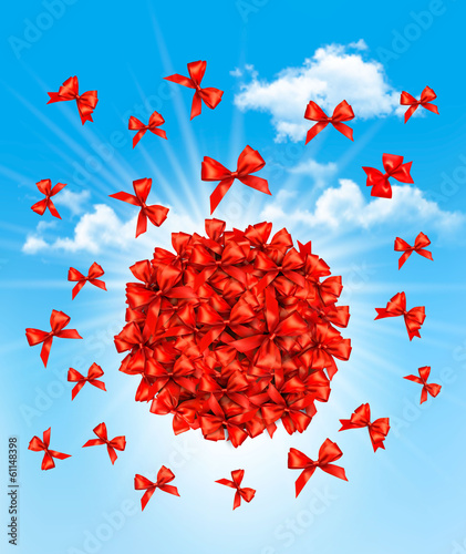 A cloud of bows. Gift sale concept. Vector.