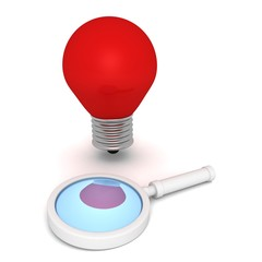 red magnifying glass and concept idea light bulb on white backgr
