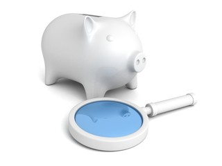 white magnifier glass and piggy money bank