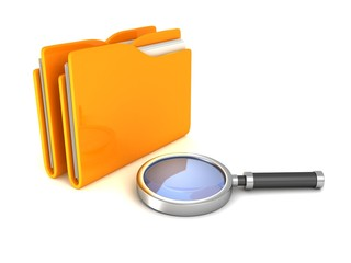 Search Magnifying Glass and yellow office file document folders