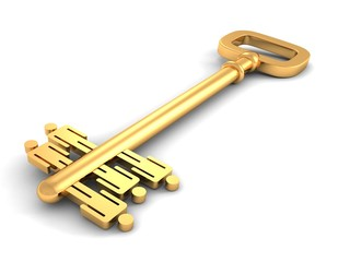 golden teamwork success concept key on white