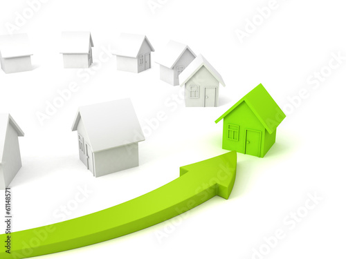 green house real estate concept choice arrow