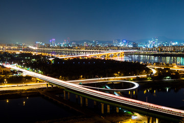 Expressway in Seoul at night