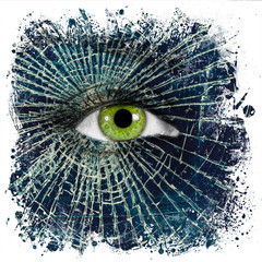 Broken glass on female face with green eye, empty soul