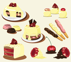 Cakes Vector set, other berry