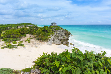 Beautiful empty Caribbean beach in Tulum