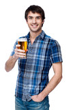 Man with beer glass isolated on white