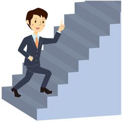 階段を上がる男性