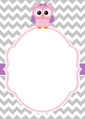 Owl invitation card template