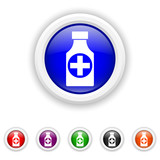 Pills bottle  icon - six colours set vector