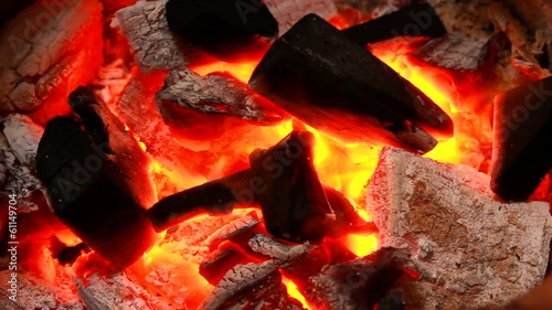 Charcoal burn fire background grill