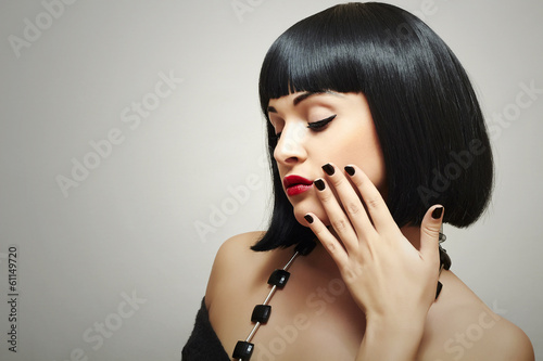 Retro Beautiful Brunette Girl. Healthy Black Hair. bob Haircut
