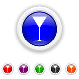 Martini glass icon - six colours set vector