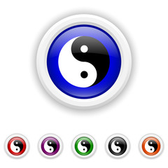 Ying yang icon - six colours set vector