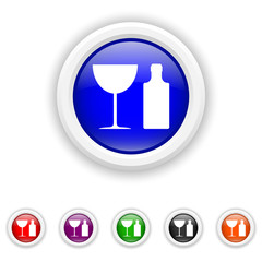 Bottle and glass icon - six colours set vector