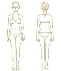 水着の女性 全身 モデル