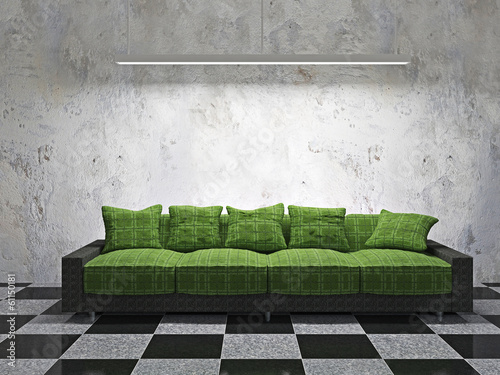 Sofa with green cushions